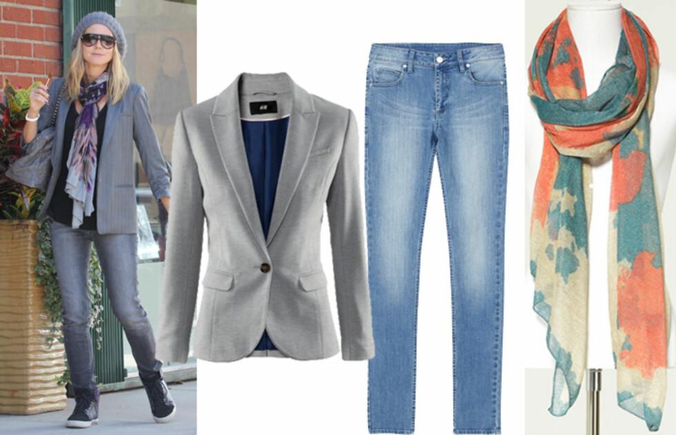 DRESS DEM OPP: Heidi Klum dresser opp joggeskoene. (F.v) Blazer (kr.299/H&M), lysvaskede jeans (kr.300/Monki) og skjerf (kr.199/Zara - på salg). Foto: All Over Press/Produsentene