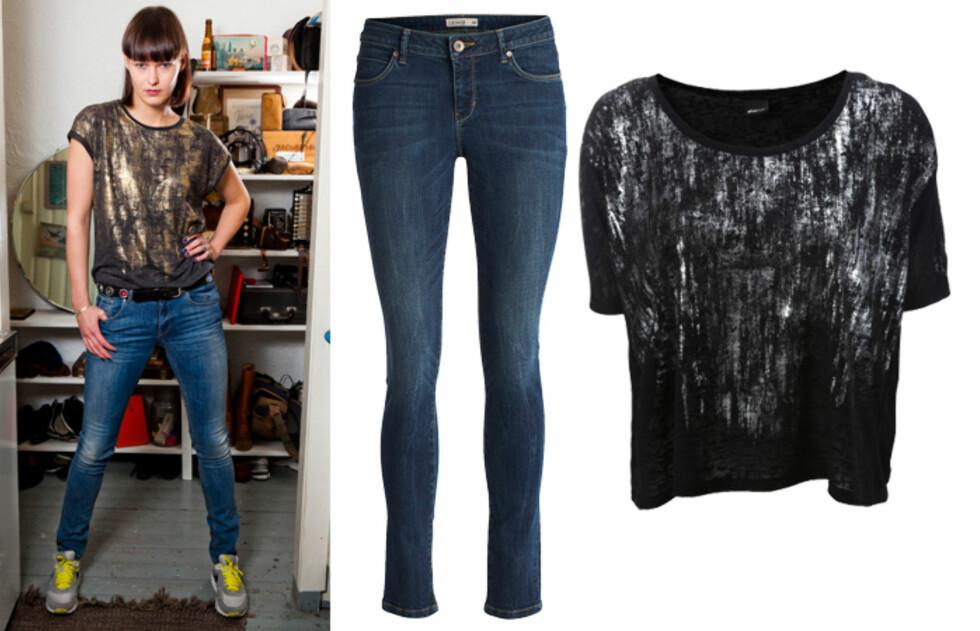 CASUAL GLAM: Musikkartist Hanne Kolstø går for jeans og metallisk t-skjorte. (F.v) Mørke skinnybukser (kr.399/Lindex) og t-skjorte med sølv (kr.199/Gina Tricot). Foto: Per Ervland/Produsentene