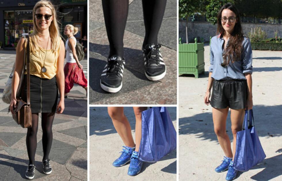 GATEINSPIRASJON: Danske Tine Marie Bach (20) til venstre lar skoene gå i ett med strømpene - for en diskret, men stilig bruk av joggesko. Sophie Ismail (t.h) foretrekker bruker imidlertid tilbehøret til å framheve skoene. Foto: Per Ervland/Tone Ra Pedersen