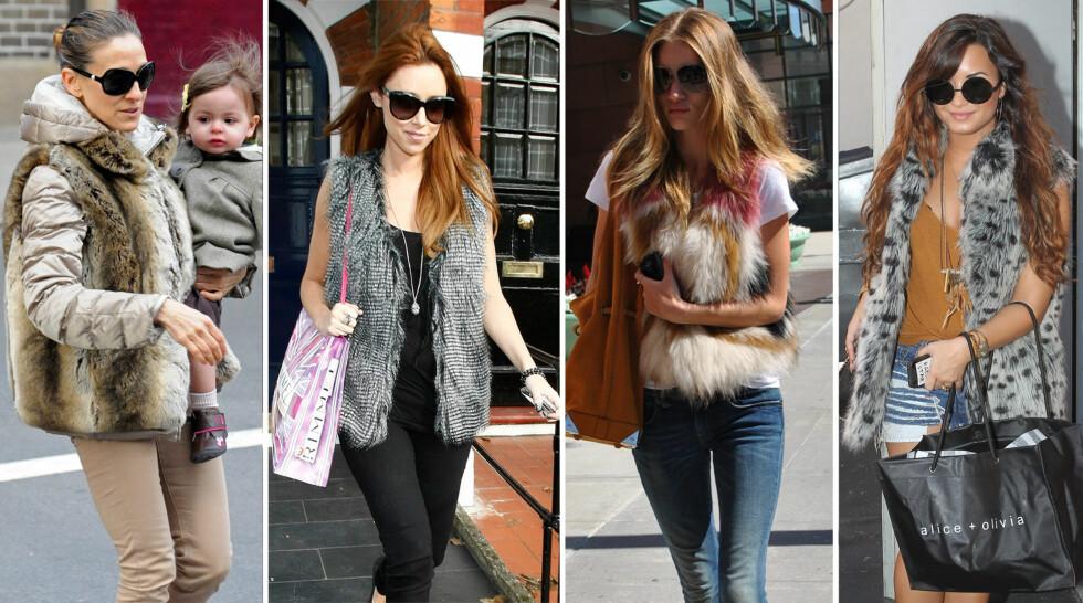 POPULÆRT: Kjendiskvinner som Sarah Jessica Parker (fra venstre), Una Healy, Rosie Huntington-Whiteley og Demi Lovato er svorne fans av fuskepelsvesten.  Foto: All Over Press
