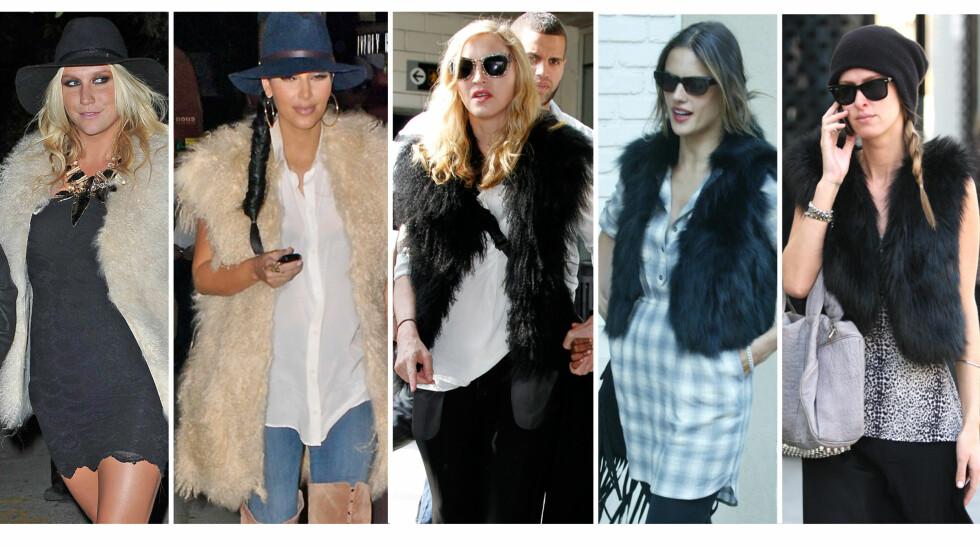 NØYTRALE FARGER: Kesha, Kim Kardashian, Madonna, Alessandra Ambrosio og Nicky Hilton har alle valgt en fuskepelsvest i nøytrale farger, som kan kombineres med det meste.  Foto: All Over Press