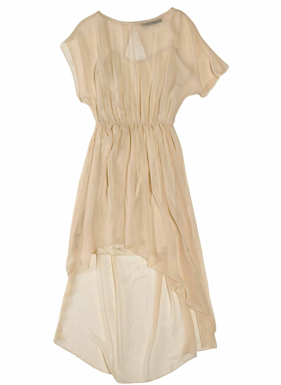 Asymmetrisk, nude kjole med transparente partier (Kr.699) Foto: Zara