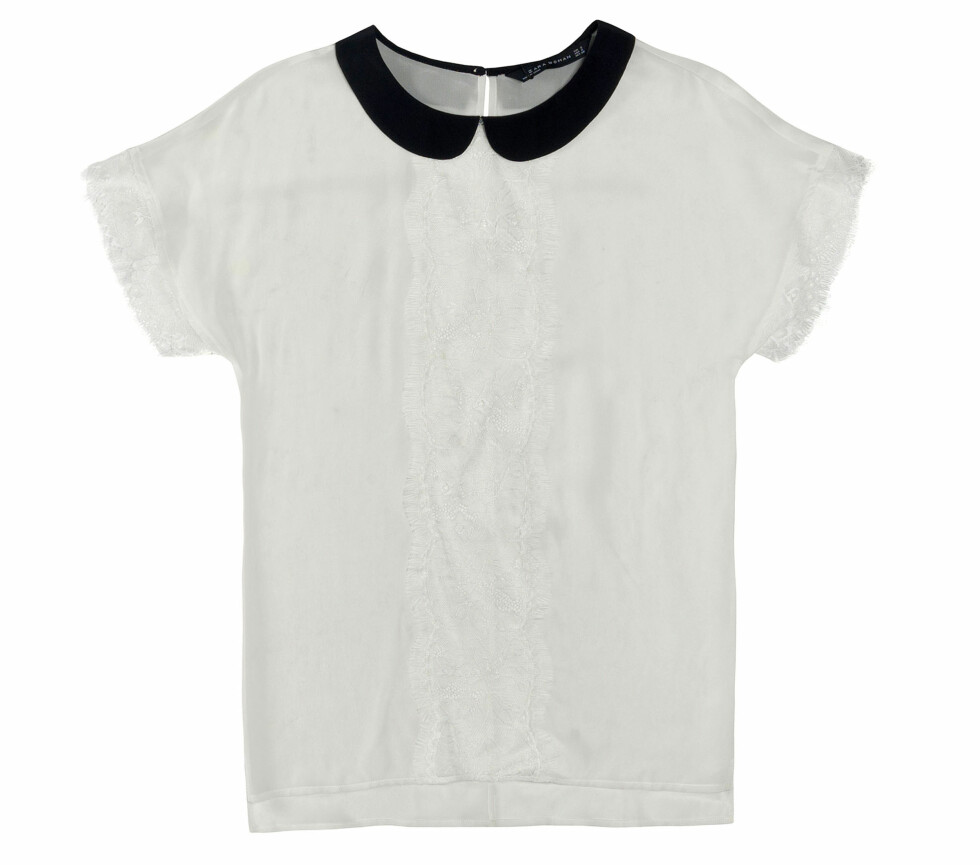 Hvit overdel med blonder og sort krage (Kr.559) Foto: Zara
