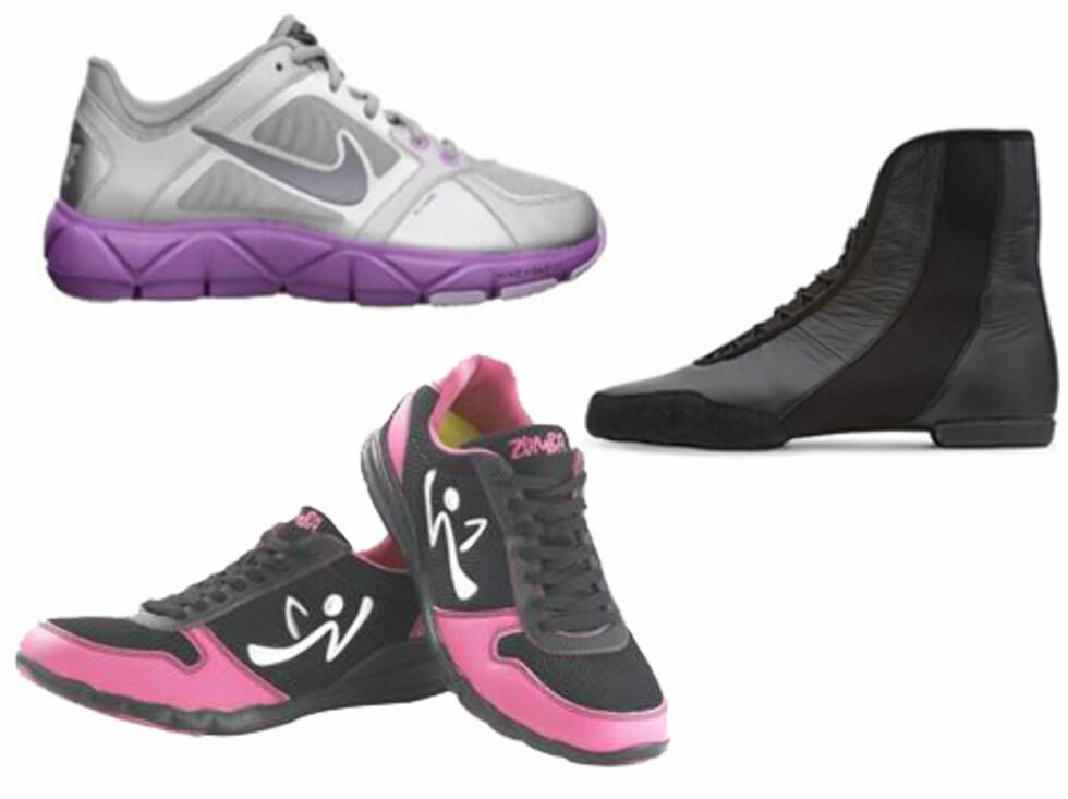 <strong>GODE MODELLER:</strong> Christensen Solberg har selv følgende modeller: Nike free XT motion fit (selges blant annet på G-sport, Antonsport og Intersport) og Bloch jazzdanssko fra Blochworld.com. Ellers selger de også egne Zumba-sko fra Zumbawear.no (nederst til venstre).  Foto: Produsentene