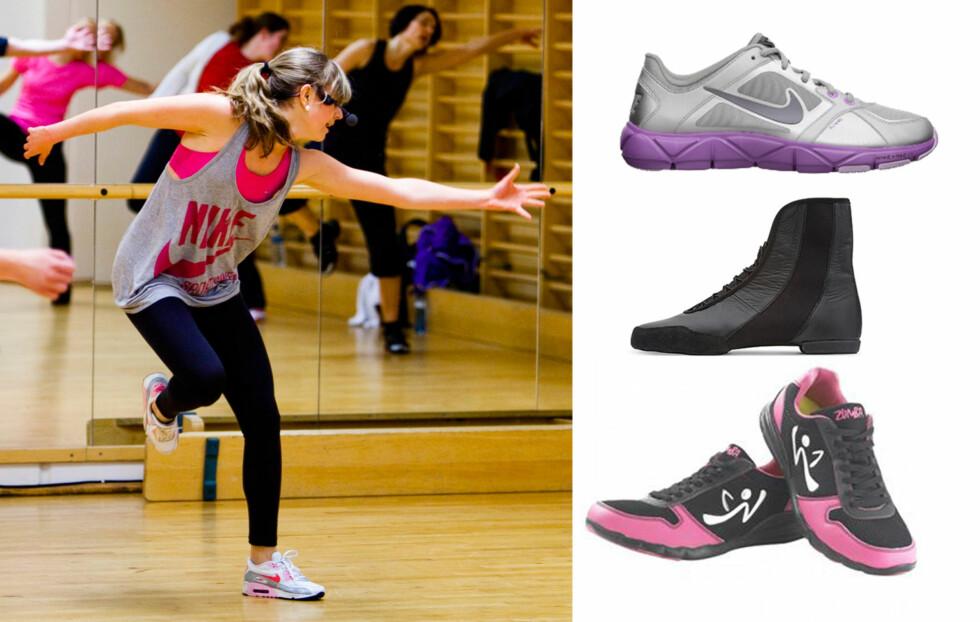 <strong>GODE SKO:</strong> Det er viktig med gode sko, også når du danser Zumba. Det beste er en sko med myk og ikke for tykk såle, som disse modellene fra Nike (øverst), Bloch og Zumbawear.  Foto: Produsenten/Per Ervland