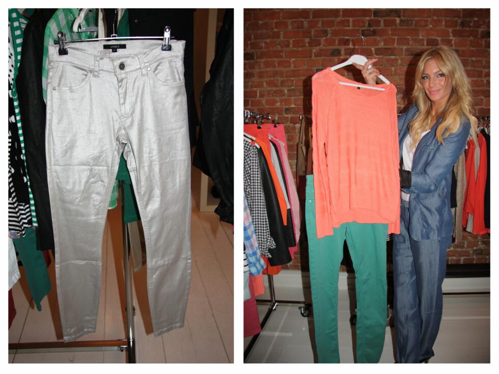 PASSER TIL ALT: Den oransje-rosa genseren kan styles enkelt med en beige eller sølvgrå jeans, eller, hvis du er litt mer vågal, med fargede jeans, som Sørland viser frem.  Foto: Adéle C. Blystad