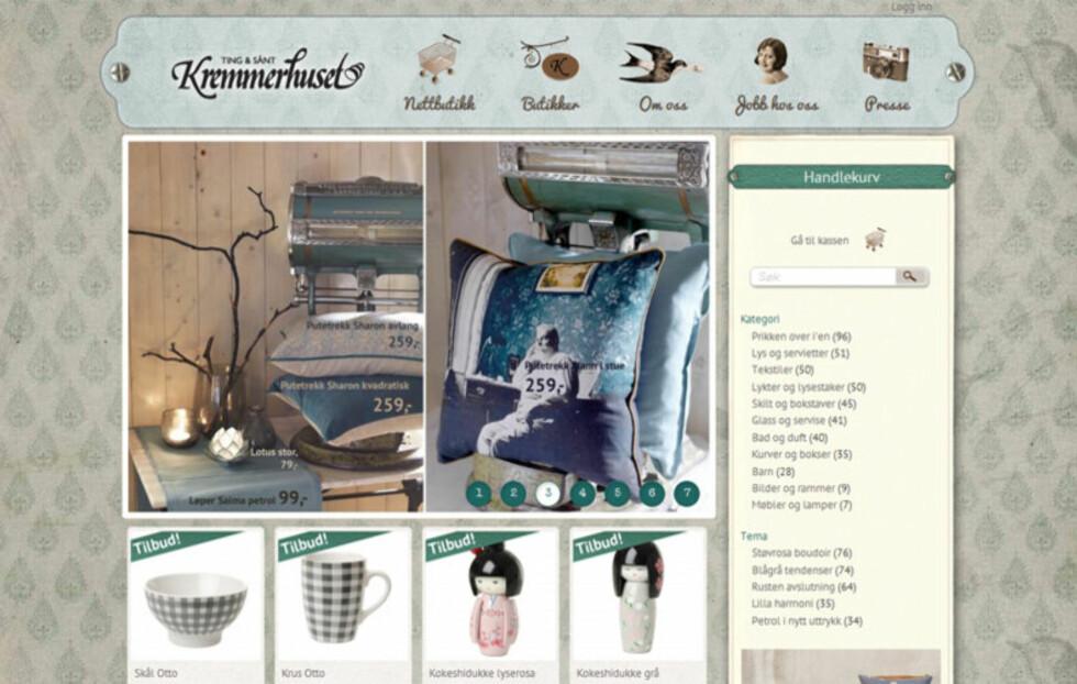 NYÅPNET: Faksimile av interiørkjeden Kremmerhusets nettbutikk. Foto: Faksimile