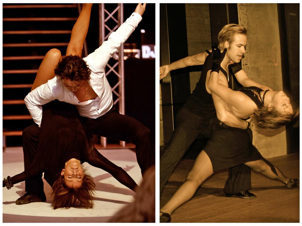 """<strong>PROFESJONELL DANSER:</strong> I tillegg til å være danselærer på """"Skal vi danse"""" og treningsekspert på """"God Morgen Norge"""" har Therese Cleve også vært profesjonell danser i mange år. Her fra et show med Egor Filipenko (t.v) og et show med  Mads Brattlie.  Foto: Movimenti/Therese Cleve"""