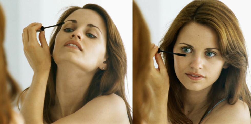 VANLIG RUTINEFEIL: De fleste av oss legger maskara først på de øvre vippene før vi trekker haken mot halsen og sperrer opp øynene og legger maskara på nedre vipper. Og det fører gjerne til maskarasøl over øyelokket.  Foto: Colourbox