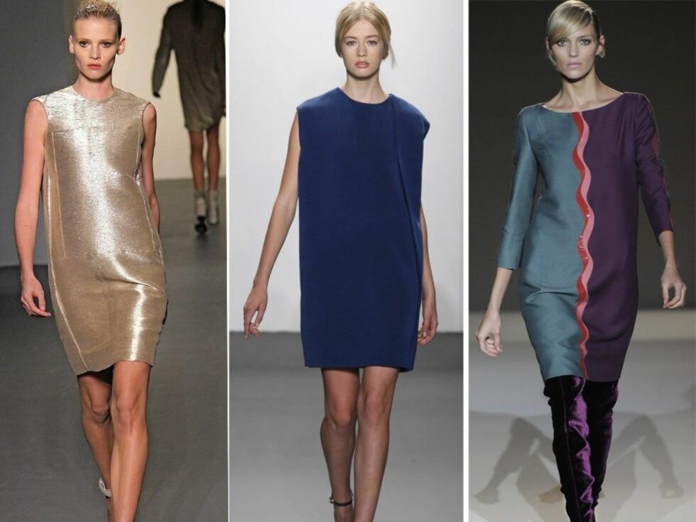 I GULL, BLÅTT ELLER FLERFARGET: Enkel og elegant gullkjole og i knall blått på catwalken til Calvin Klein, og i lilla og petroleum med bølgete mønster hos Alberta Ferretti. Foto: All Over Press