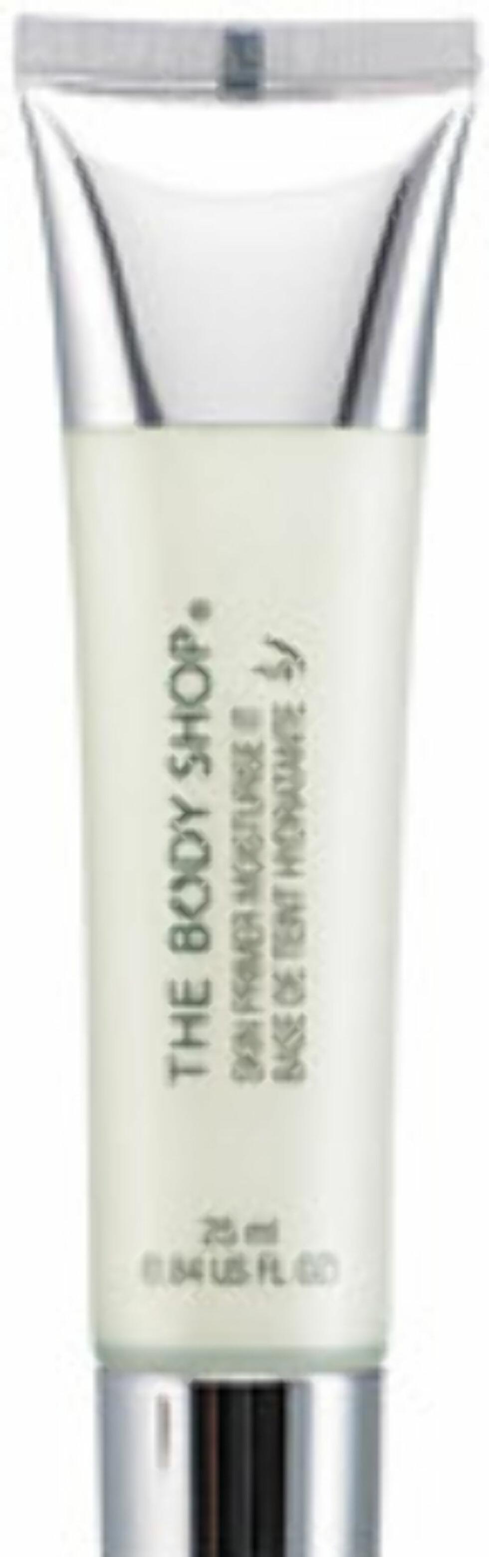 Bodyshops Skin Primer Mosturize It som skal pleie huden og gi den fuktighet (kr.179 for 25 ml/Webshop.bodyshop.no). Foto: Produsenten
