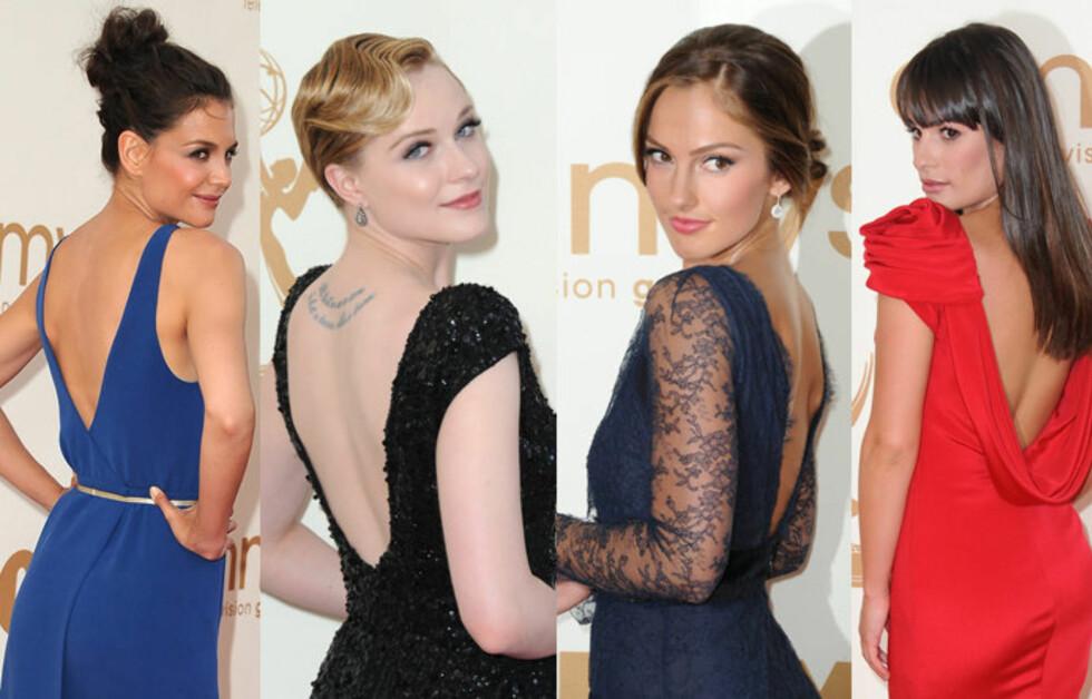 SEXY RYGG: På Emmy-utdelingen i natt valgte flere stjerner utringning bak og ikke foran. (F.v) Katie Holmes, Evan Rachel Wood, Minka Kelly og Lea Michele. Foto: All Over Press