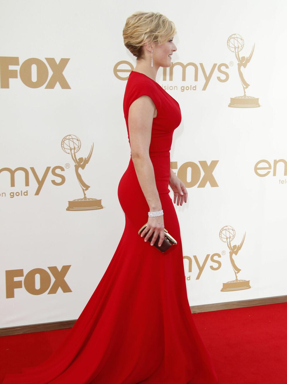 Elie Saab-kjolen viser fram Kates vakre kurver.  Foto: All Over Press