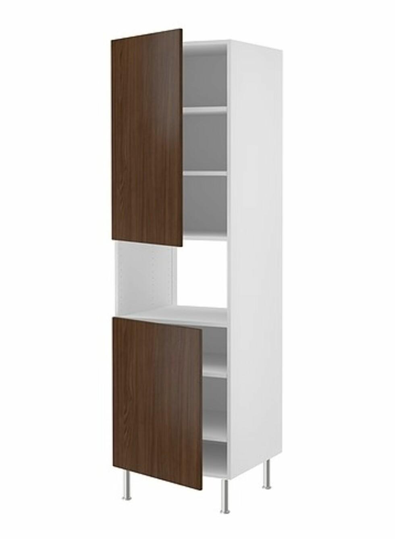 FAKTUM: Vi elsker de valnøttmønstrede nye frontene til Faktum-serien. Dette skapet kan like godt stå i stua som på kjøkkenet. Herlige 70-tallsvibber. Foto: Ikea.no