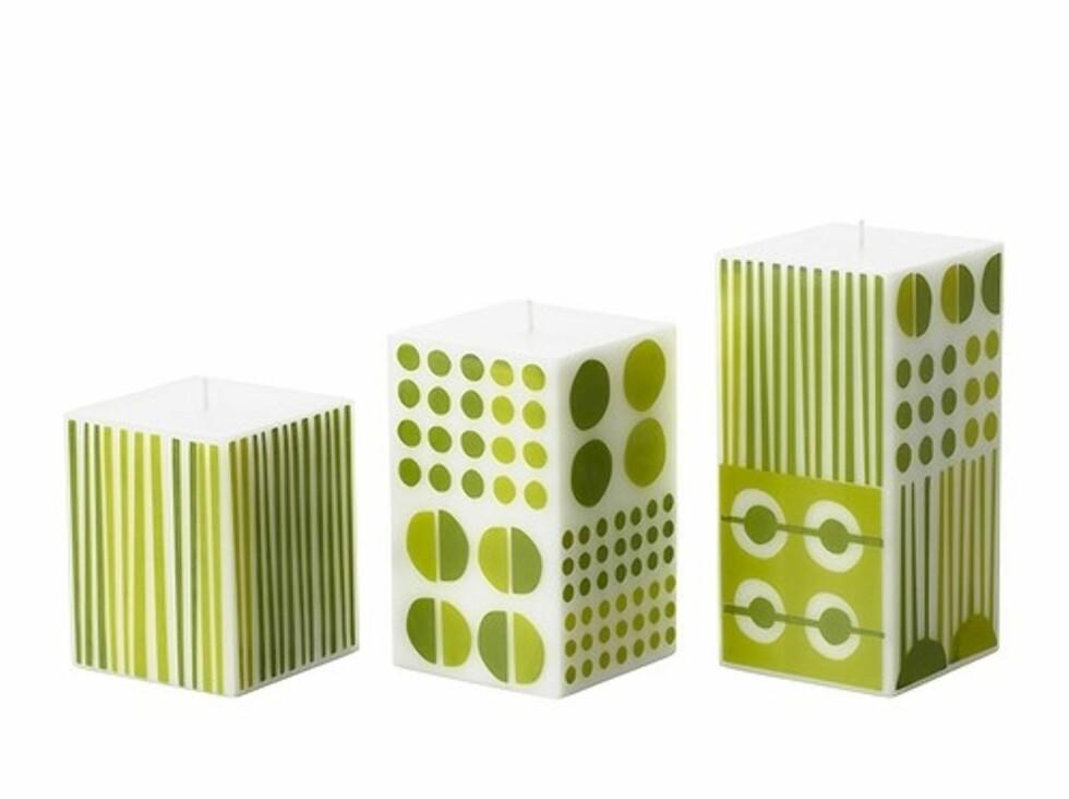 GULLIG: Kubbelys med mosegrønt 70-tallsmønster (kr.69). Foto: Ikea.no