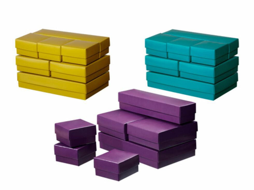 VAMMEN: Sju esker i varierende størrelse til 29 kroner. Til dekorativ oppbevaring eller som gaveesker. Foto: Ikea.no