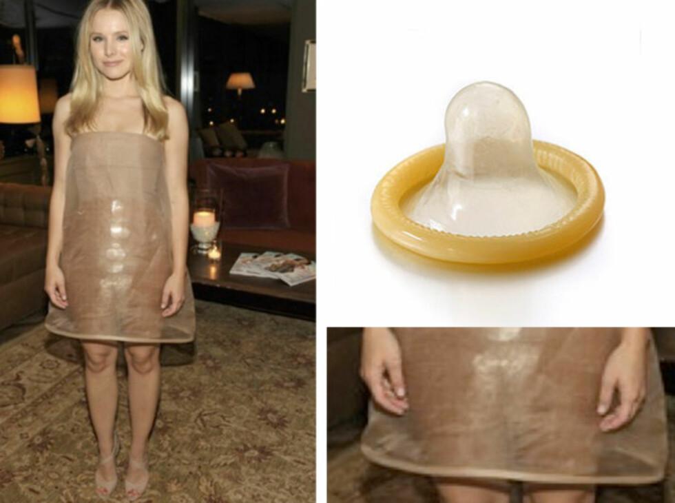 <strong>SLÅENDE LIKHET:</strong> Kristen Bell kunne med hell ha valgt en mindre prevensjonsinspirert kjole. Foto: All Over Press / kollasj