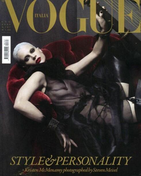 <strong>FAKSIMILE:</strong> Vår gråhårete heltinne på Vogue Italia-forsiden.