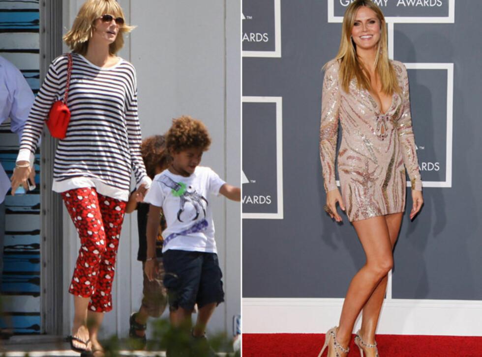 <strong>94 PROSENT HATER DET:</strong> Heidi Klum i hverdagsklær (t.v.) og på den røde løperen under Grammy Awards tidligere i år (t.h). Hele 94 prosent av brukerne av KK.no's Trendtoppen hater antrekket til venstre. Foto: All Over Press