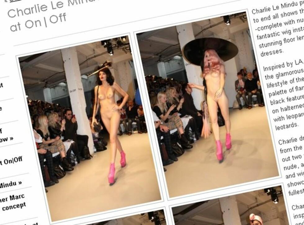 TILBEHØR I FOKUS: ... eller ble det kanskje de nakne modellene som fikk mest oppmerksomhet? (Faksimile: onoff.tv)