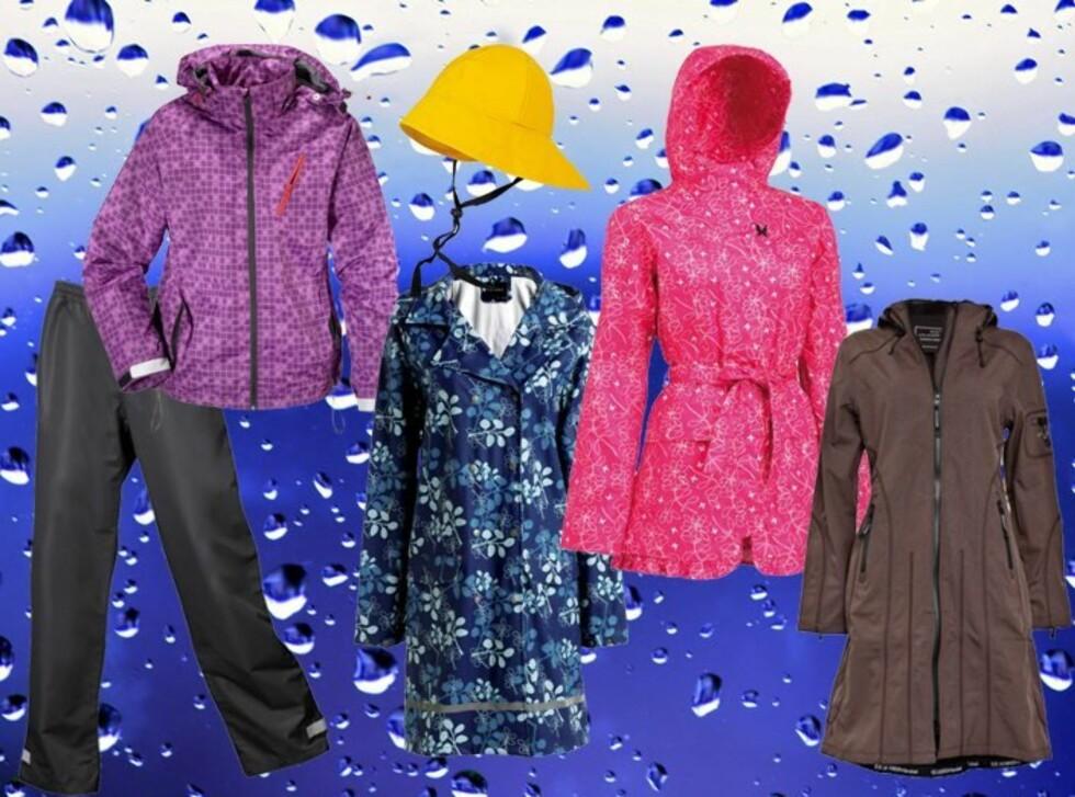 TØRT OG TØFT: Fra venstre: Regnsett med lilla jakke og svart bukse fra Ellos, kr 799; gul sydvest fra Stormberg, kr 129; blåmønstret regnkåpe fra Ellos, kr 599; rosamønstret regnjakke fra Kari Traa, kr 899; brun softshell regnjakke fra Ilse Jacobsen, kr 2099. Foto: Produsentene