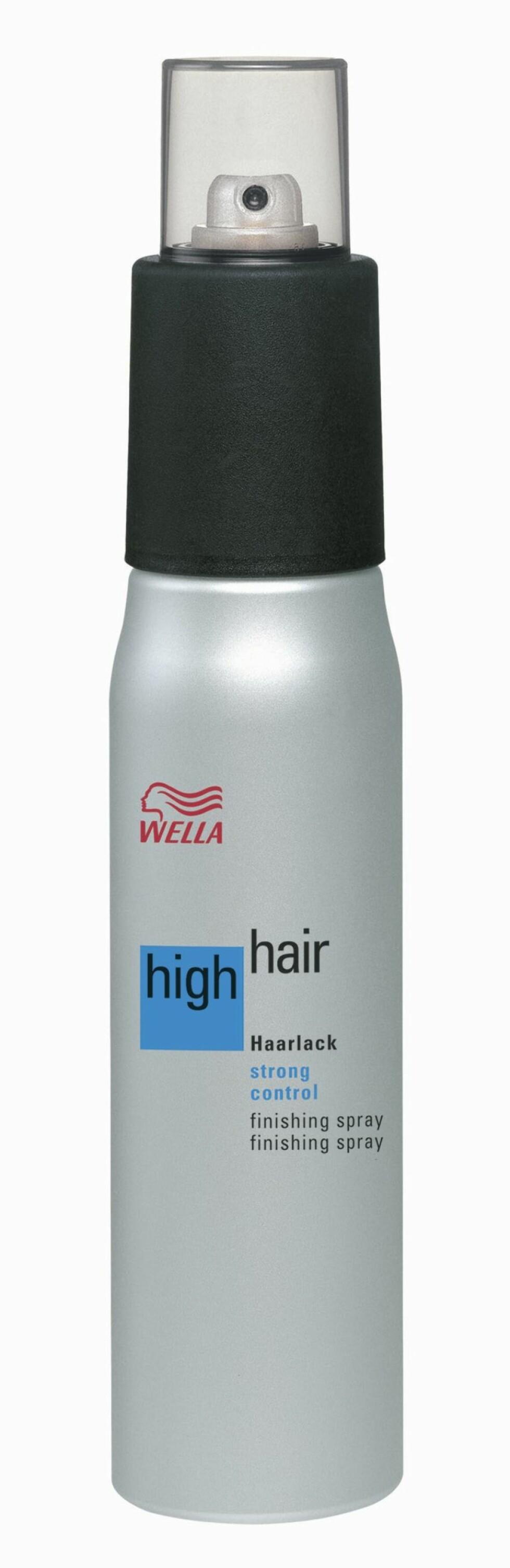 High Hair Finishing Spray Srong Control 300 ml, fra Wella, ca. kr 210. Foto: Produsenten