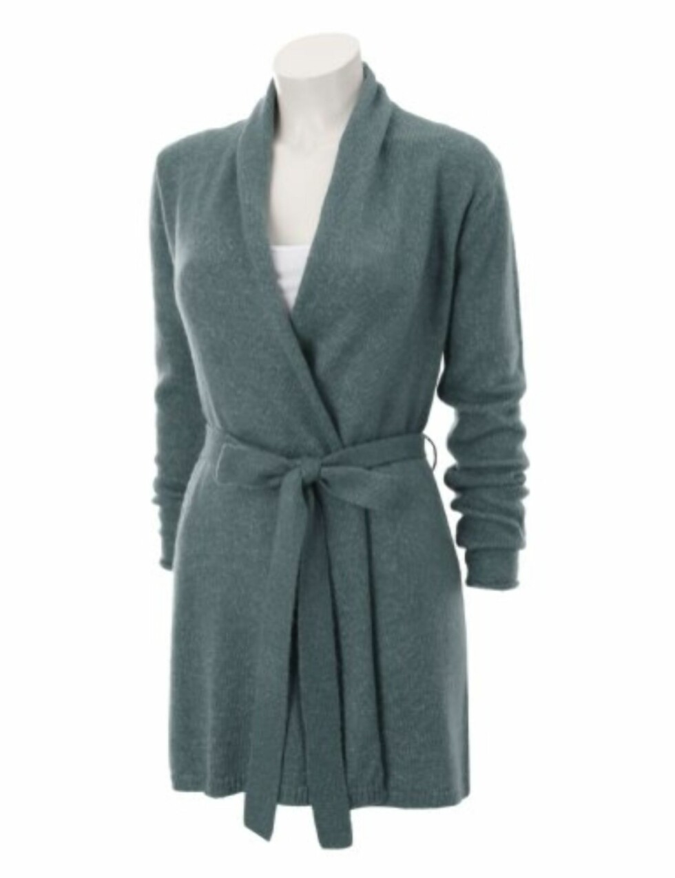 Dueblå cardigan i akryl og polyester. Bruk den over smale jeans og røffe militærboots (kr 199, Gina Tricot).
