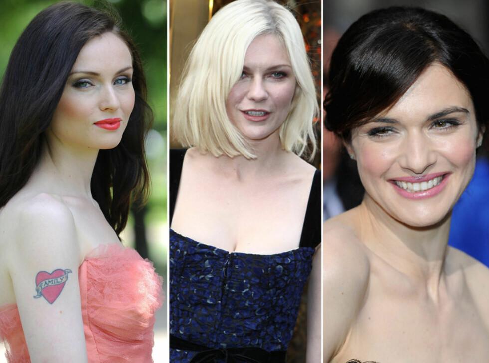 Sophie Ellis-Bextor, Kirsten Dunst og Rachel Weisz er tre vakre stjerner som beholder den bleke huden sin.