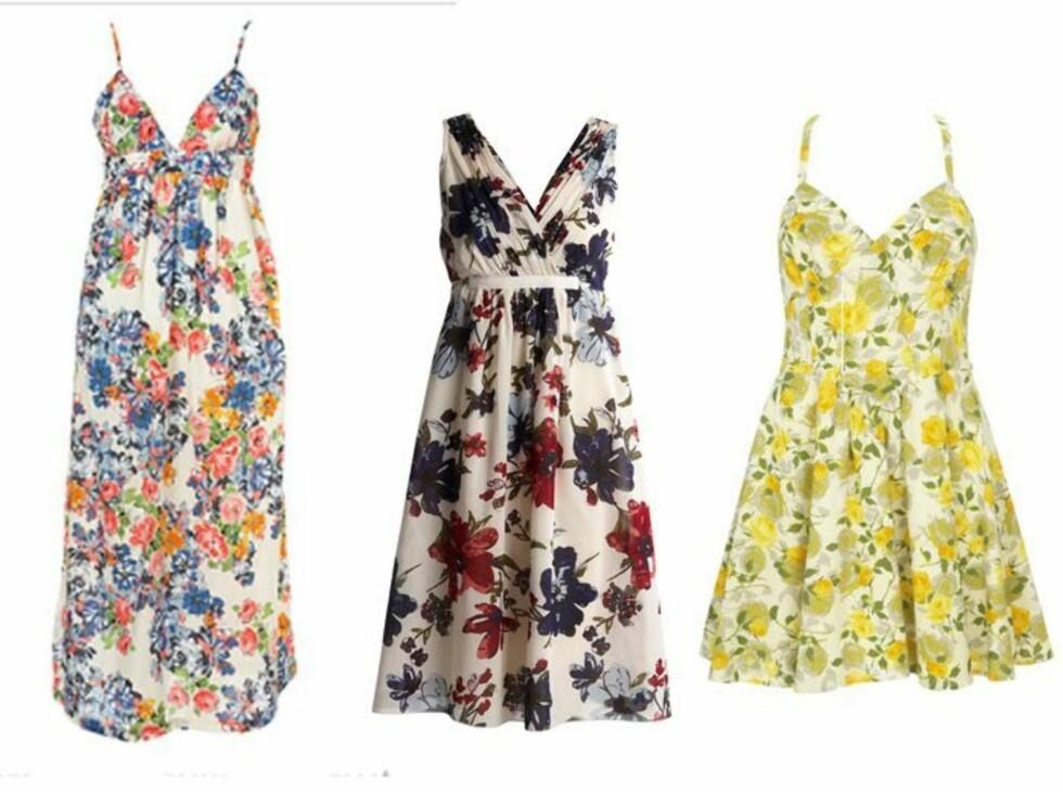 ROMANTISKE SOMMERDRØMMER: Fra venstre: Maxikjole med blomstertrykk (kr 360, Topshop), kjole med 50-tallssnitt (kr 350, Kappahl) og gul sommerkjole (kr 300, Warehouse). Foto: Produsentene