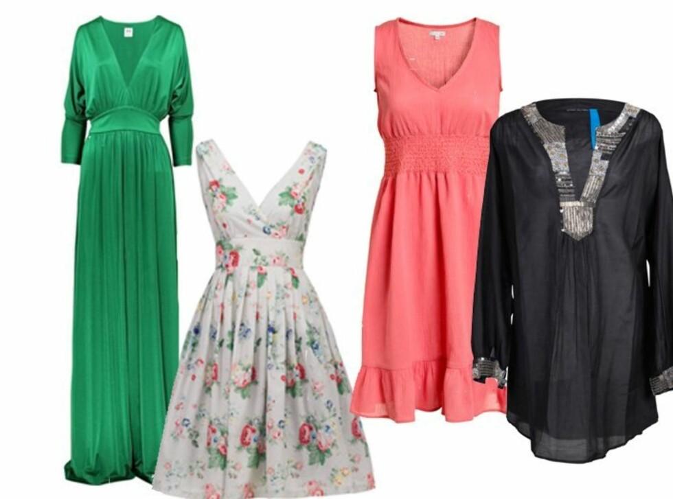 Skinnende grønn kjole med v-hals, innsving og høy splitt (ca kr 3500/Halston Heritage), blomstrete kjole med dyp utringning (kr 499/Kappahl), korallfarget sommerkjole (kr 249/Ellos) og svart tunikakjole med mønster i front (kr 799/Vivikes). Foto: Produsent