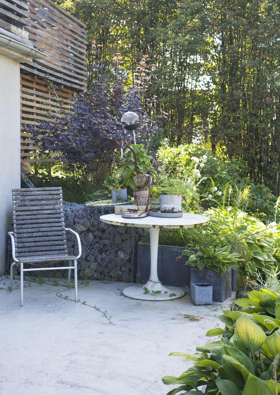 Se, så fin patina på dette hvite bordet. Det er egentlig et innebord fra Ikea som har havnet ute.Kjelleren er bygget ut, med terrasse oppå og en liten sitteplass utenfor. – Kvalitetsmøbler av kjerneved trenger ikke oljes for å vare lenge, sier Marianne. Hun liker den grånende fargen på stolen. Støttemurene i hagen er gabioner, stålkurv fylt med stein. Plantene som klatrer, er egentlig ugress, men Marianne synes de er så fine at hun lar dem vokse. Foto: Filippa Tredal