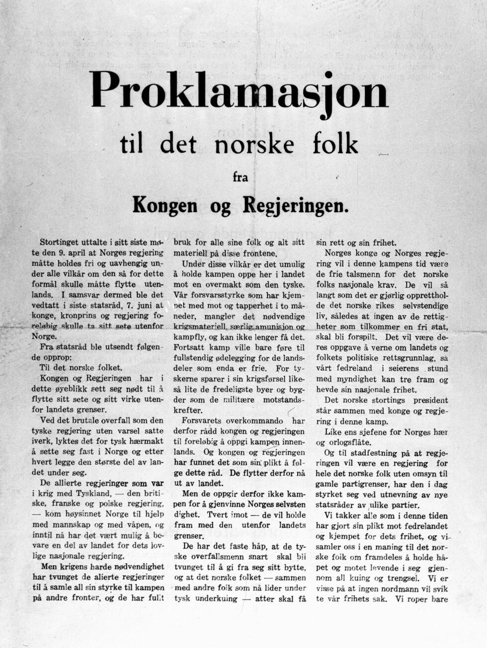 KUNNGJØRING: Proklamasjonen fra kongen og regjeringen da de forlot Norge 7. juni 1940. Foto:  Foto: NTB scanpix