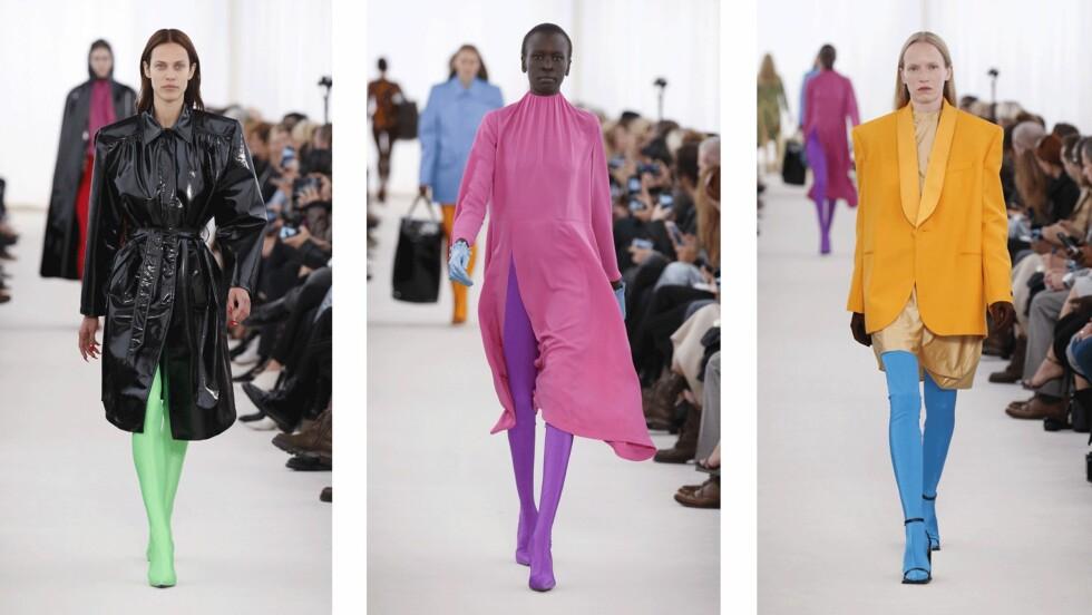 FRA CATWALKEN: Skoene fra Balenciaga begynner som en sokk og går helt opp til livet! Foto: Scanpix