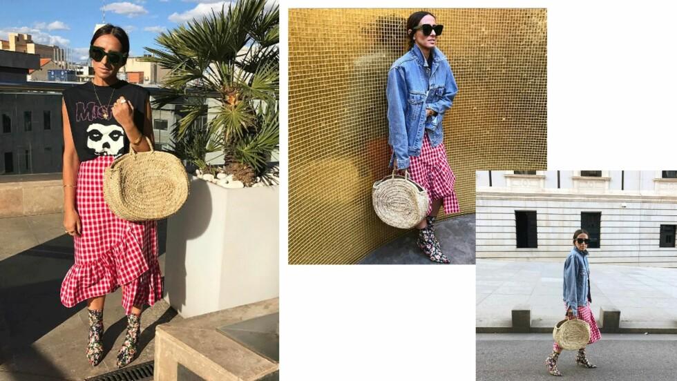 STJEL STILEN: Laura Eguizabal viser deg hvordan du bruker sesongens hotteste mønster - gingham! Foto: Skjermdump fra Instagram / @laura_eguizabal