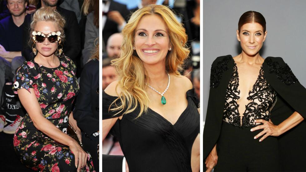 HOLLYWOOD: Skuespillerne Pamela Anderson, Julia Roberts og Kate Walsh er tre av Hollywood-skjønnhetene som fyller 50 år i år! Se flere i bildekarusellen under! Foto: NTB Scanpix