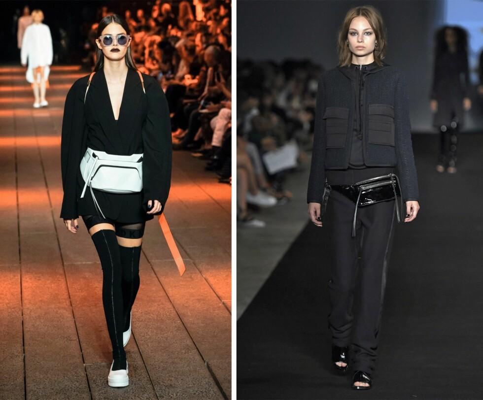 FRA CATWALKEN: Både DKNY og Rag&Bone viste sine versjoner av rumpetasken da de presenterte sine kolleksjoner i fjor. Foto: Scanpix