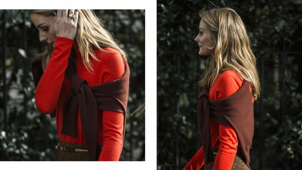 STILTIPS: Gjør som Olivia Palermo og knyt en genser over genseren din. Foto: Scanpix