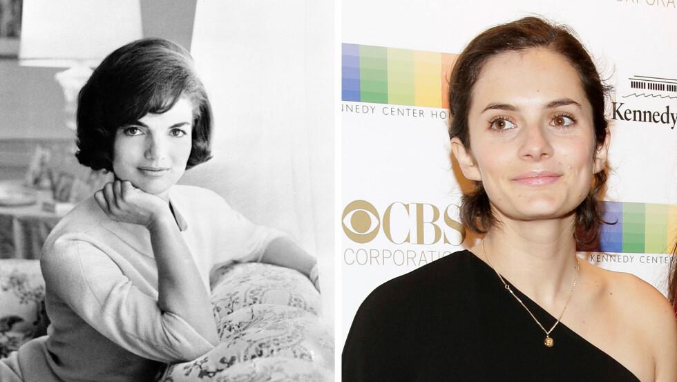 PRIKK LIK: Det er ingen tvil om at 28 år gamle Rose Schlossberg har arvet sin nå avdøde bestemors flotte utseende. Bildet av Jackie Kennedy ble tatt i 1961.  Foto:  Foto: NTB Scanpix