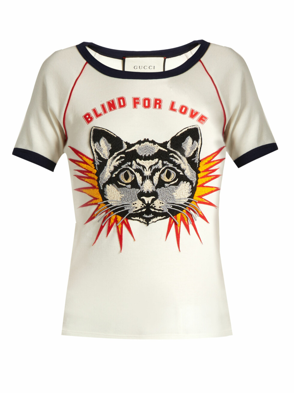 T-skjorte fra Gucci via Matchesfashion.com | kr 5175 | http://www.matchesfashion.com/intl/products/Gucci-Blind-for-Love-print-cotton-jersey-T-shirt--1074854