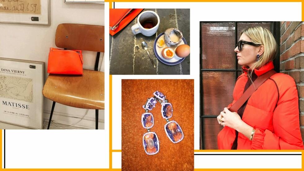 ORANSJE: Vi har falt like pladask for oransje som Camille Charriere! Foto: Skjermdump / Instagram / @camillecharriere