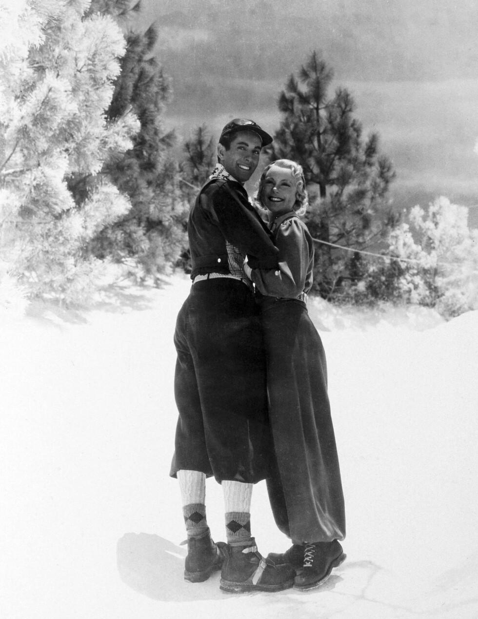 FILMDIVA: Sonja debuterte på lerretet i «One in a Million» fra 1936, som ble en braksuksess. Året etter fulgte «Thin Ice», der hun spilte mot Tyrone Power (bildet). I 1938 fulgte ytterligere to filmer, og nå ble Sonja rangert som den tredje mest innbringende filmstjernen, etter Shirley Temple og Clark Gable. Da fikk hun forhandlet seg fram til en ny kontrakt med filmselskapet, som lød på 160 000 dollar per film, og tre filmer per år. Dermed ble hun verdens best betalte filmstjerne. Foto: NTB scanpix