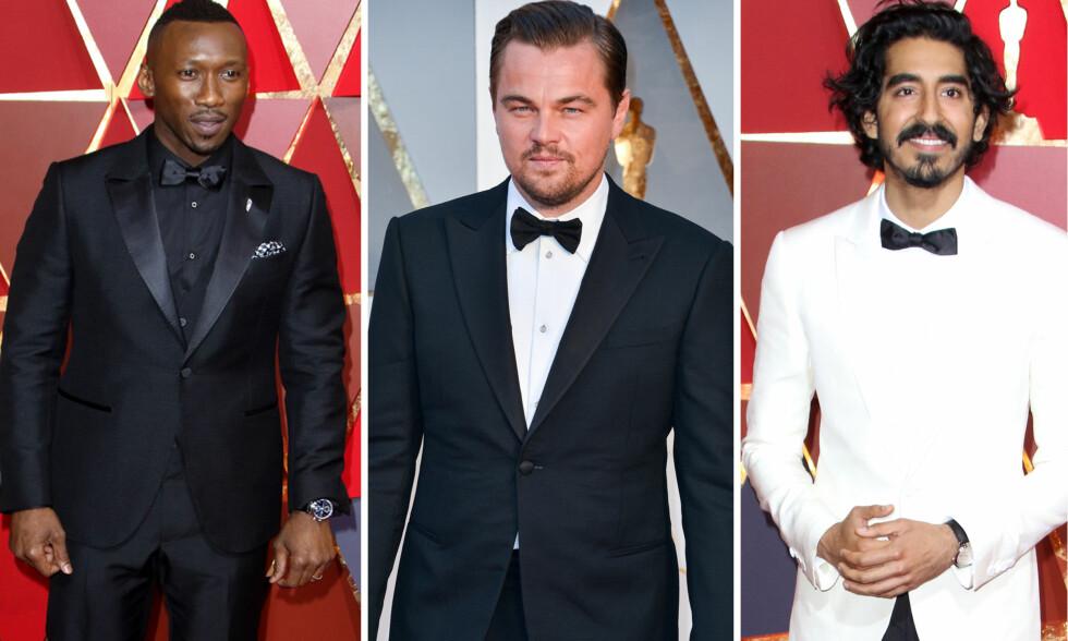OSCAR 2017: En kavalkade av menn som ikke trenger hjelp av en smoking for å se ut som en Hollywood-stjerne. Fra venstre: Mahershala Ali, Leonardo DiCaprio og Dev Patel.