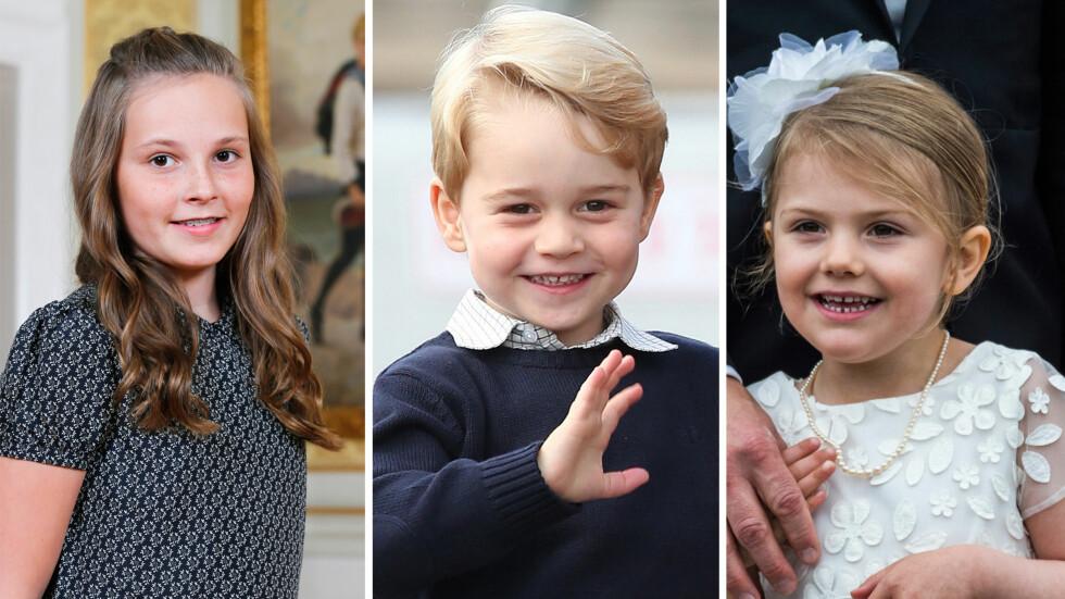 <strong>KONGELIGE BARN:</strong> Både prinsesse Ingrid Alexandra i Norge, prins George i Storbritannia og prinsesse Estelle i Sverige skal én dag ta over tronen. Bli bedre kjent med kongebarna og deres søsken i saken! Foto: NTB scanpix