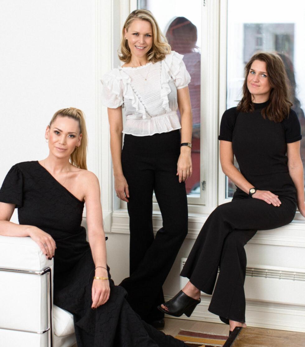 DESIGNERTEAMET: Vanessa Rudjord (i midten) har laget en kolleksjon sammen med damene bak merket byMagMaLou, Marthe Kveli Valeberg og Andrea Johannesen.