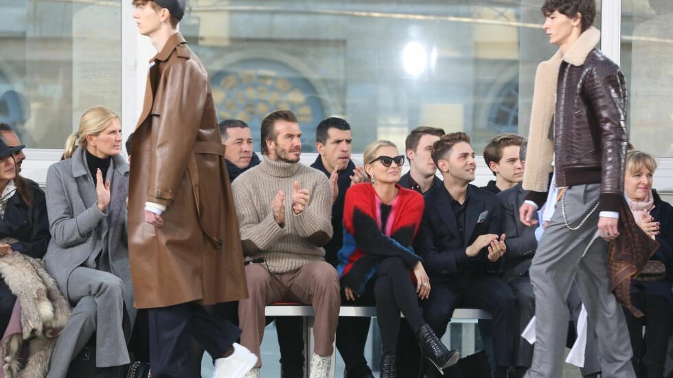 <strong>ADRIAN STENE:</strong> Adrian Stene (t.v.) ble oppdaget på familieferie i Riga - i januar gikk han visning for Louis Vuitton, Prada og Valentino med David Beckham og Kate Moss på første rad. Foto: Abaca