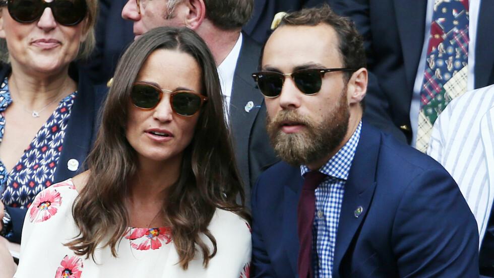 JAMES MIDDLETON: Pippa og James Middleton fotografert under Wimbledon Championships i fjor sommer. De er småsøsknene til hertuginne Kate og er naturlig nok en del av britisk sosietet. Foto: NTB Scanpix