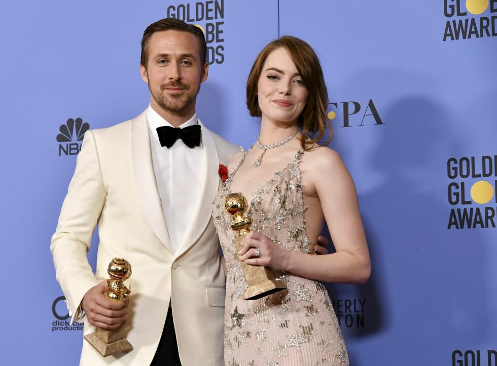 VANT PRIS: Under årets Golden Globe-utdeling, som ble avholdt i Los Angeles i begynnelsen av januar, fikk Ryan Gosling og Emma Stone pris for sin skuespillerprestasjon i «La La Land».  74th Annual Golden Globe Awards, Press Room, Los Angeles, USA - 08 Jan 2017   Foto: NTB Scanpix