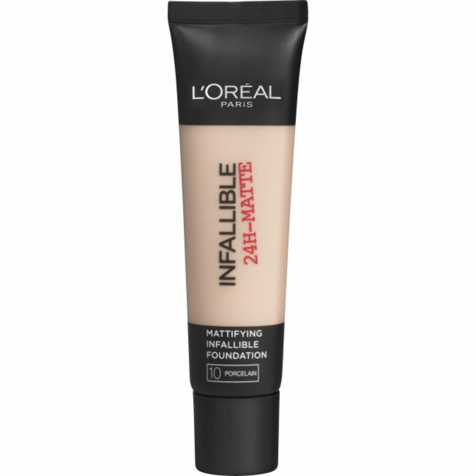 Infallible Matte Foundation fra L'Oréal er en av de store favorittene blant de over 200 foundationene som er anmeldt på Talk About Beauty.  Foto: Vita