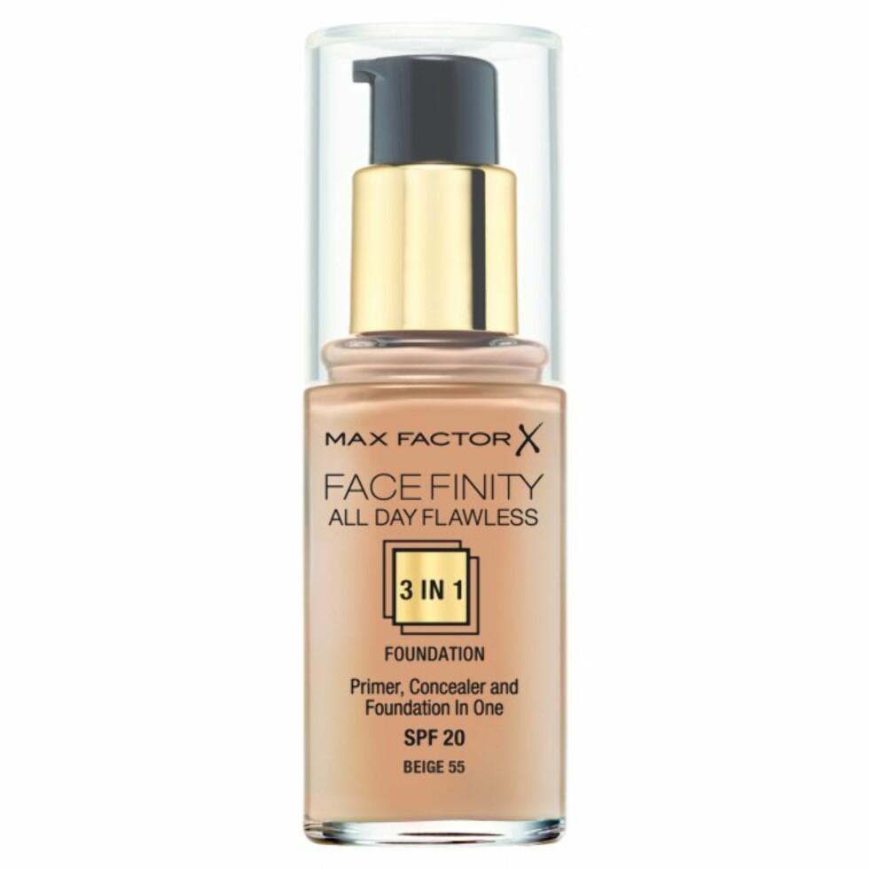 Facefinity 3 In 1 Foundation fra Max Factor har fått fantastiske anmeldelser og hevdes å være perfekt for deg med kombinert eller fet hud.  Foto: Vita