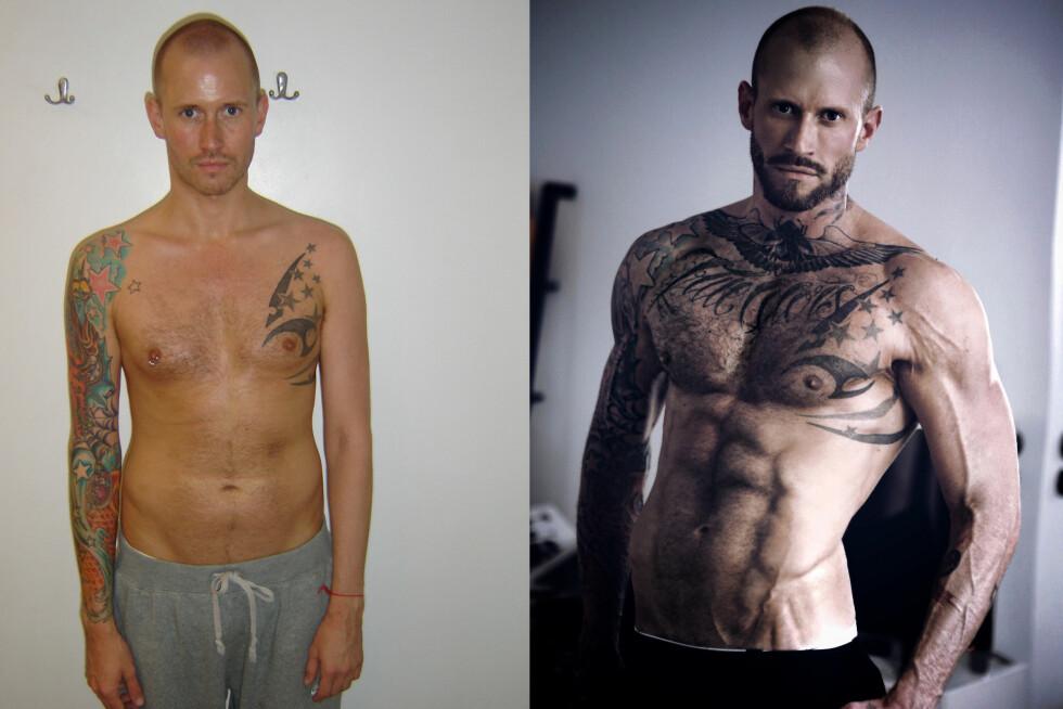 FØR OG ETTER: Storm Pedersen har lagt inn en betydelig innsats i å bedre formen. Mentalt føler han seg sterkere enn noensinne.